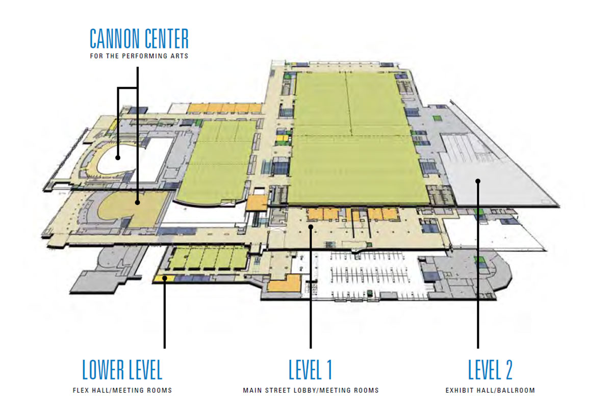 Overview map of Memphis' Renasant Convention Center