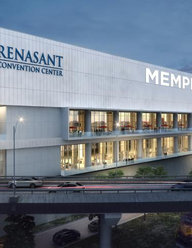 Memphis' Renasant Convention Center east facade