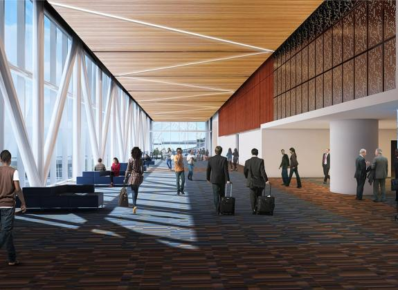 Rendering of the concourse at Renasant Convention Center in Memphis