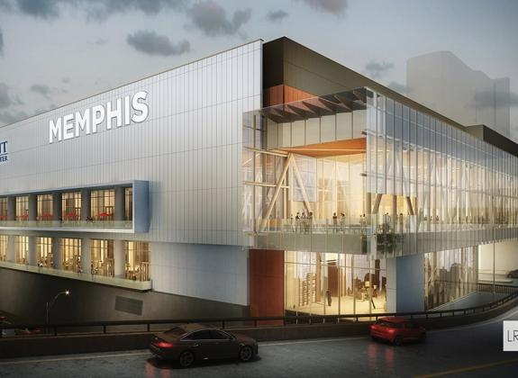 A rendering of the exterior of Memphis' Renasant Convention Center, showing the building's glass concourse