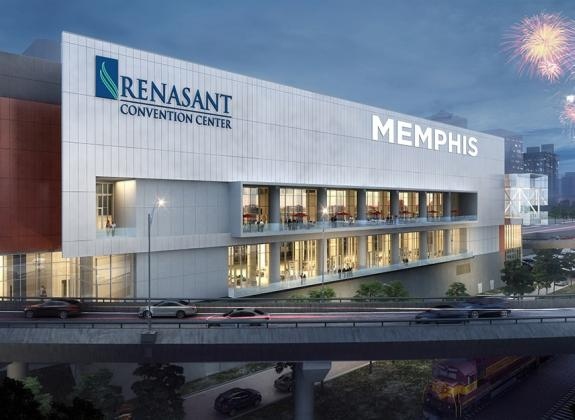 A rendering of the exterior of Memphis' Renasant Convention Center