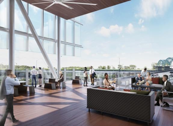 Rendering of the West Terrace at Memphis' Renasant Convention Center